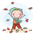 little boy playing with the leaves vector image vector image