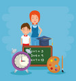 little boy with teacher and school supplies vector image