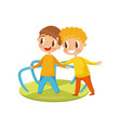 little boys playing with merry go round kids on a vector image vector image