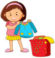 little girl doing laundry vector image vector image