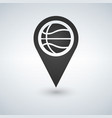 map marker with basketball symbol on a white vector image