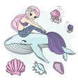 mermaid walk princess sea underwater cartoon vector image vector image