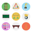nine color flat billiards icon set vector image