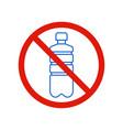 no plastic bottle no littering warning sign vector image