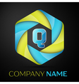 Q Letter colorful logo in the hexagonal on black vector image vector image