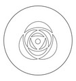 rose icon black color in circle vector image
