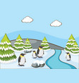 scene with penguins on snow mountain vector image vector image