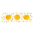 set marigold flower with green leaf 3d realistic