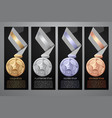 set of black banner gold platinum silver vector image vector image