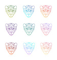 Set of polygonal head of tiger in vector image vector image