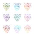 set polygonal head tiger in vector image
