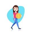 smiling woman character holding bitcoin mining vector image