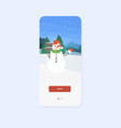 snowman with hat and scarf waving had merry vector image vector image