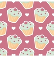 Tile pattern with cupcake and white hearts vector image vector image
