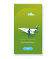 two businessmen launching paper plane creative vector image vector image