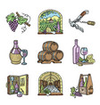 wine production cellar winery viticulture winey vector image