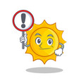 with sign cute sun character cartoon vector image
