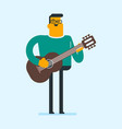 young caucasian man playing the acoustic guitar vector image vector image