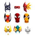 colorfu super hero masks set of vector image
