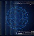 3d blue abstract tech background with sphere vector image