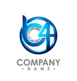 3d initial letter b and number 4 logo design vector image vector image