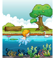 A boy swimming with a duck in the river vector image vector image