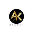 ak a k golden letter logo design with a creative