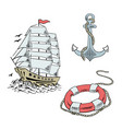 anchor boat lifebuoy ship sketch set vector image vector image