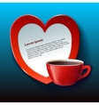 Banner for Valentine red heart and tea vector image vector image