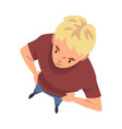 blond teenage boy character standing with hands on vector image vector image
