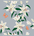 blooming lily flowers garden seamless pattern vector image vector image