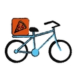 blue pizza food delivery bicycle drawing vector image vector image