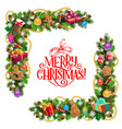 christmas frame with pine tree and gifts vector image vector image