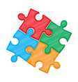colorful jigsaw puzzle in four pieces vector image