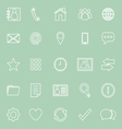Contact line icons on green background vector image vector image