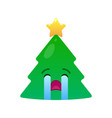 crying christmas tree isolated emoticon vector image vector image