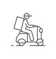 delivery man on scooter outline icon on white vector image