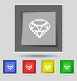 Diamond Icon sign on original five colored buttons vector image vector image