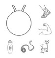 fitness and attributes outline icons in set vector image vector image