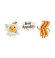 fried egg and bacon bon appetit vector image