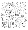 hand drawn set of female witches hands vector image vector image