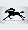 horse race equestrian sport silhouette racing vector image