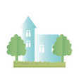 house facade exterior architectute trees icon vector image