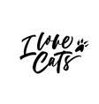 i love cats black calligraphy vector image vector image