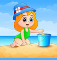 little girl cartoon playing a sand on beach vector image vector image