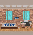 living room interior in hipster style with brick vector image