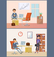 man working in office businessman and client vector image vector image
