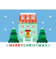merry christmas cute watercolor cartoon house card vector image