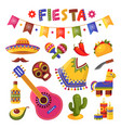 mexican fiesta set bright festival party vector image vector image