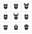 New Years mask Icons Set vector image vector image